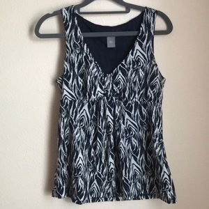 Navy patterned blouse